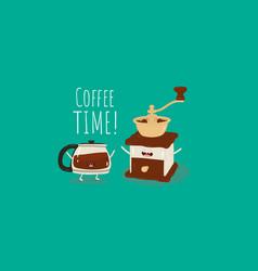 coffee brewing methods retro grinder vector image