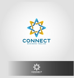 connection - linked star line logo template vector image