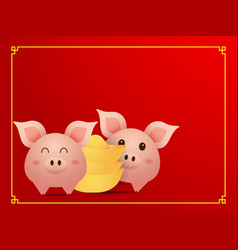 couple cute pig and gold on red background vector image
