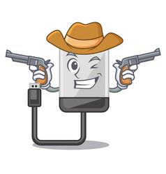 cowboy hard drive in shape of mascot vector image