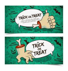 creepy halloween horizontal banners vector image