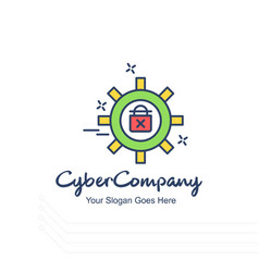 Cyber company setting gear logo with white vector