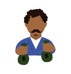 Danger bandit with money bags avatar character vector