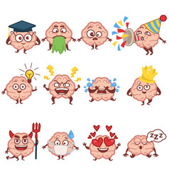 Emoji human brain faces and emotions brainy vector
