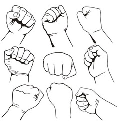 fists set vector image