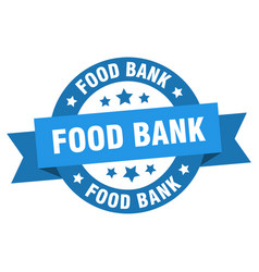 food bank ribbon food bank round blue sign food vector image