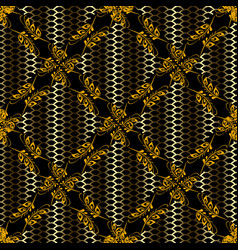gold 3d grid seamless pattern lattice abstract vector image