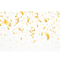 golden confetti and festive ribbons falling vector image