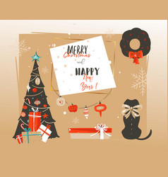 hand drawn abstract happy new year time vector image