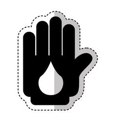 Hand human with drop silhouette isolated icon vector