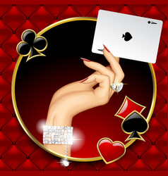 Hand of woman with jewelry holding ace playing vector