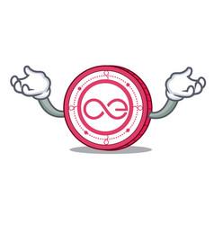 Hand up aeternity coin character cartoon vector