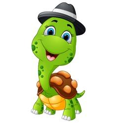 Happy cartoon turtle wearing cap vector image