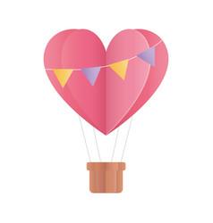 Happy valentines day hot air balloon shape heart vector