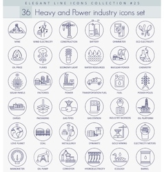 heavy and power industry outline icon set vector image