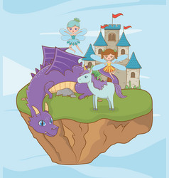 Horse dragon and fairy fairytale design vector