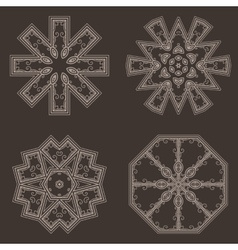 Intricate Henna Lines Painted Flowers Set vector image