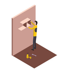isometric worker home repair form vector image