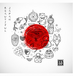 japan doodle sketch elements and big red sun vector image