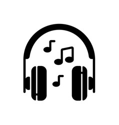Listening to music black glyph icon vector