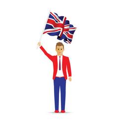 man waving the uk flag vector image
