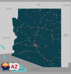 map of state arizona usa vector image