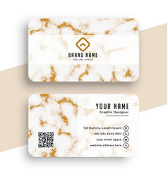 Marble texture white and gold business card design vector