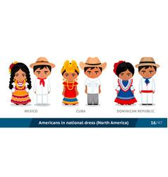 mexico cuba dominican republic men and women in vector image
