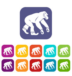 Monkey standing icons set flat vector