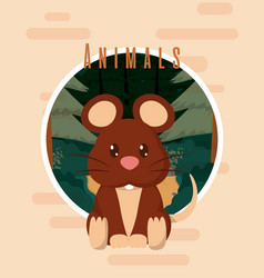Mouse cute animal card vector