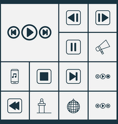 Multimedia icons set collection of audio buttons vector