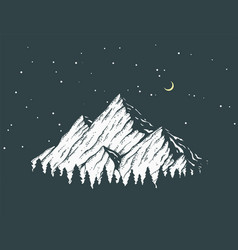 Night mountain vector