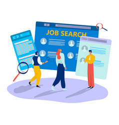 Online job search tiny character male female vector