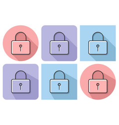 outlined icon of locked padlock with parallel and vector image