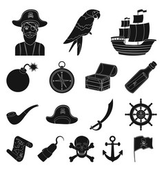Pirate sea robber black icons in set collection vector