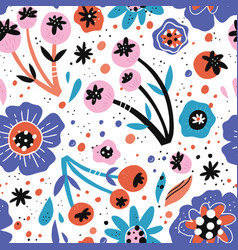 poppy flowers hand drawn seamless pattern vector image
