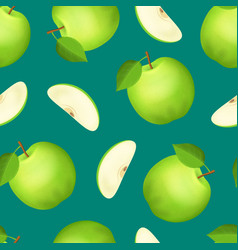 realistic detailed 3d whole green apple and slice vector image