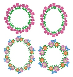 round and oval garlands of roses and gerberas vector image