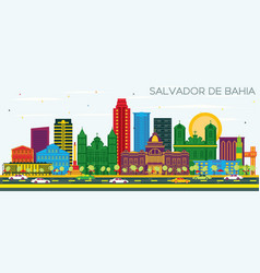 salvador de bahia brazil city skyline with color vector image