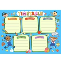 School timetable schedule colorful vector