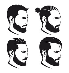 set bearded men hipsters isolated on white vector image
