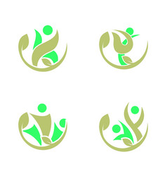 set collection abstract people logo vector image
