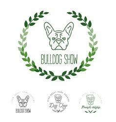 Set of logos with french bulldog and twigs Nanolne vector