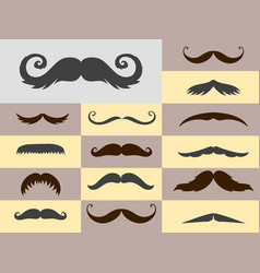 Silhouette mustache hair hipster curly vector