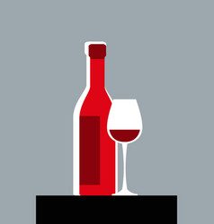simple image a bottle wine and a glass vector image