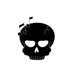 skull note musical melody sound music silhouette vector image