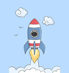 space rocket flying in with planets vector image