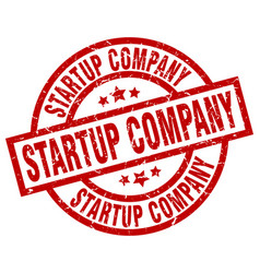 Startup company round red grunge stamp vector