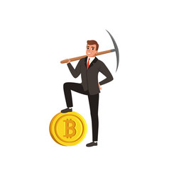 Successful businessman holding pickaxe on shoulder vector