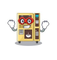 Super hero coffee vending machine with cartoon vector